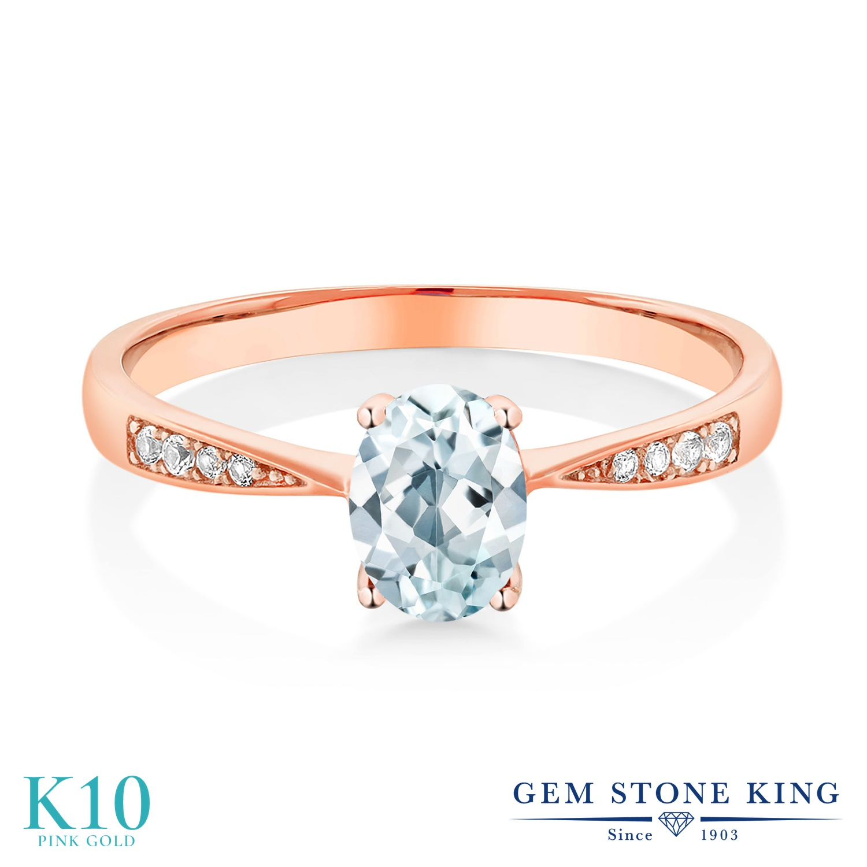 Gem Stone King 0.78カラット 天然 アクアマリン 天然 ダイヤモンド 10金 ピンクゴールド(K10) 指輪 リング レディース ソリティア 天然石 3月 誕生石 金属アレルギー対応 誕生日プレゼント