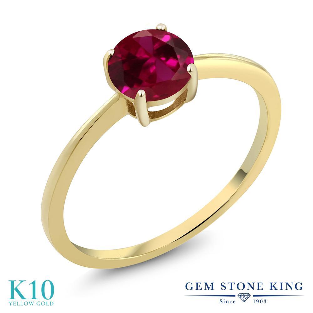 1カラット 合成ルビー 指輪 レディース リング 10金 イエローゴールド K10 ブランド おしゃれ 一粒 赤 大粒 シンプル 細身 ソリティア 婚約指輪 エンゲージリング