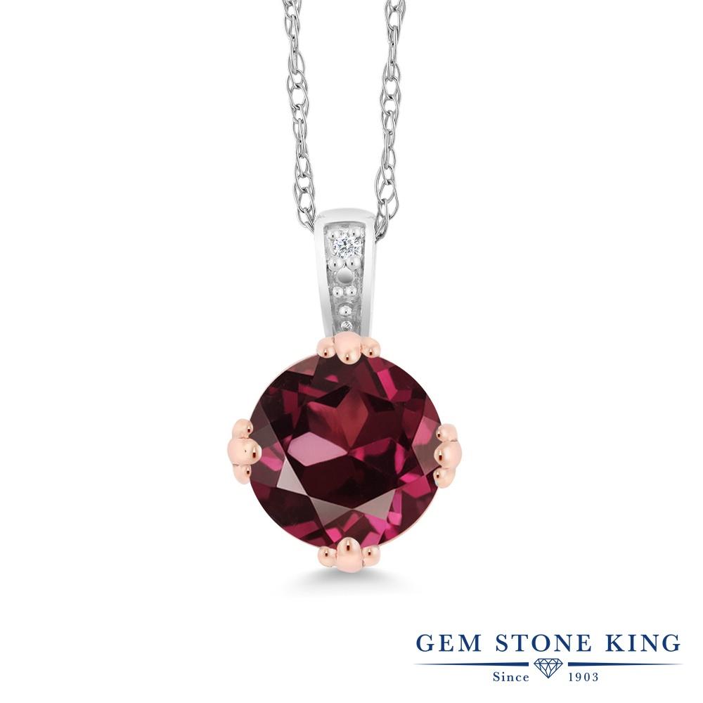Gem Stone King 1カラット 天然 ロードライトガーネット 天然 ダイヤモンド 10金 Two Toneゴールド(K10) ネックレス ペンダント レディース 大粒 シンプル 天然石 金属アレルギー対応 誕生日プレゼント