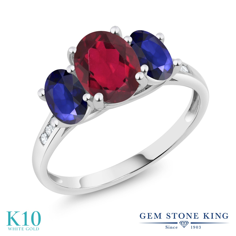 Gem Stone King 2.2カラット 天然 ミスティックトパーズ (ルビーレッド) 天然 サファイア 天然 ダイヤモンド 10金 ホワイトゴールド(K10) 指輪 リング レディース 大粒 スリーストーン 天然石 金属アレルギー対応 誕生日プレゼント