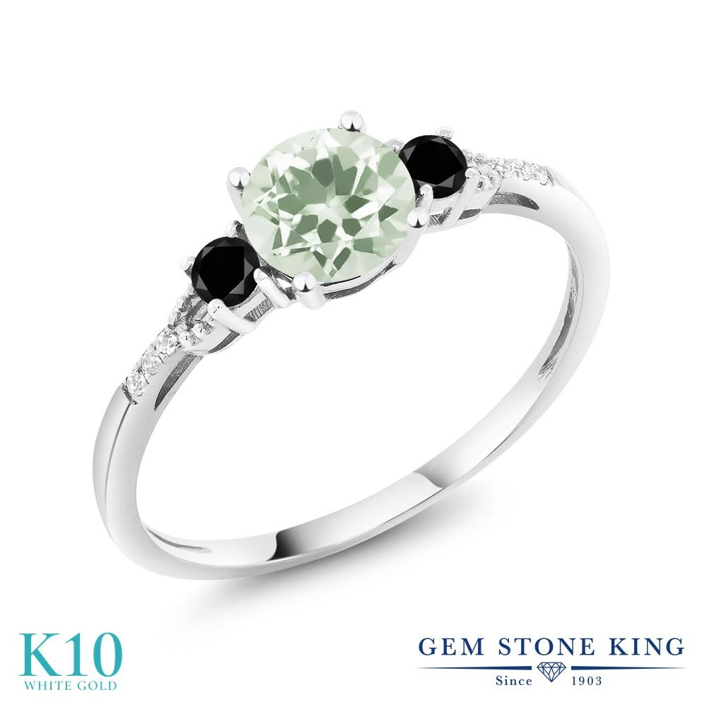Gem Stone King 1.13カラット 天然 プラジオライト (グリーンアメジスト) 天然ブラックダイヤモンド 10金 ホワイトゴールド(K10) 指輪 リング レディース マルチストーン 天然石 金属アレルギー対応 誕生日プレゼント