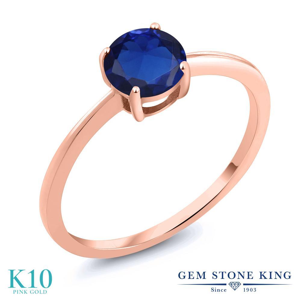 Gem Stone King 1カラット シミュレイテッド サファイア 10金 ピンクゴールド(K10) 指輪 リング レディース 大粒 一粒 シンプル ソリティア 金属アレルギー対応 婚約指輪 エンゲージリング