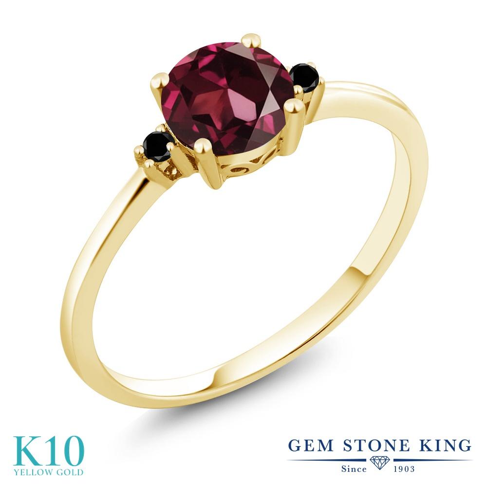 【10%OFF】 Gem Stone King 1.03カラット 天然 ロードライトガーネット ブラックダイヤモンド 指輪 リング レディース 10金 イエローゴールド K10 大粒 シンプル ソリティア 天然石 クリスマスプレゼント 女性 彼女 妻 誕生日