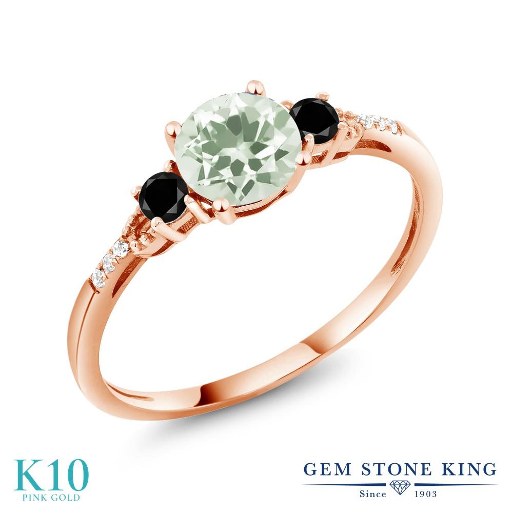 【10%OFF】 Gem Stone King 1.12カラット 天然 プラジオライト (グリーンアメジスト) ブラックダイヤモンド 指輪 リング レディース 10金 ピンクゴールド K10 マルチストーン 天然石 クリスマスプレゼント 女性 彼女 妻 誕生日