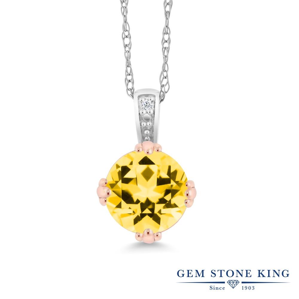 Gem Stone King 1カラット 天然石 トパーズ ハニースワロフスキー 天然 ダイヤモンド 10金 Two Toneゴールド(K10) ネックレス ペンダント レディース 大粒 シンプル 天然石 金属アレルギー対応 誕生日プレゼント