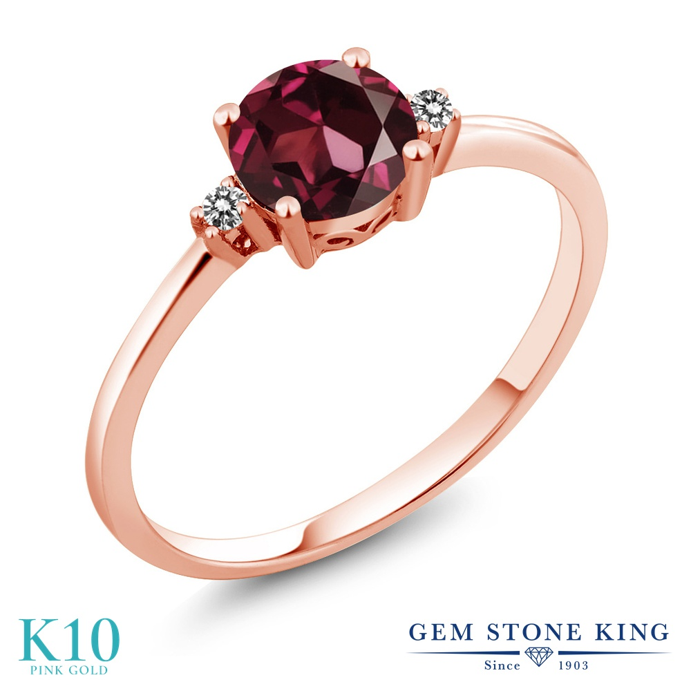 【10%OFF】 Gem Stone King 1.03カラット 天然 ロードライトガーネット ダイヤモンド 指輪 リング レディース 10金 ピンクゴールド K10 大粒 一粒 シンプル ソリティア 天然石 婚約指輪 エンゲージリング