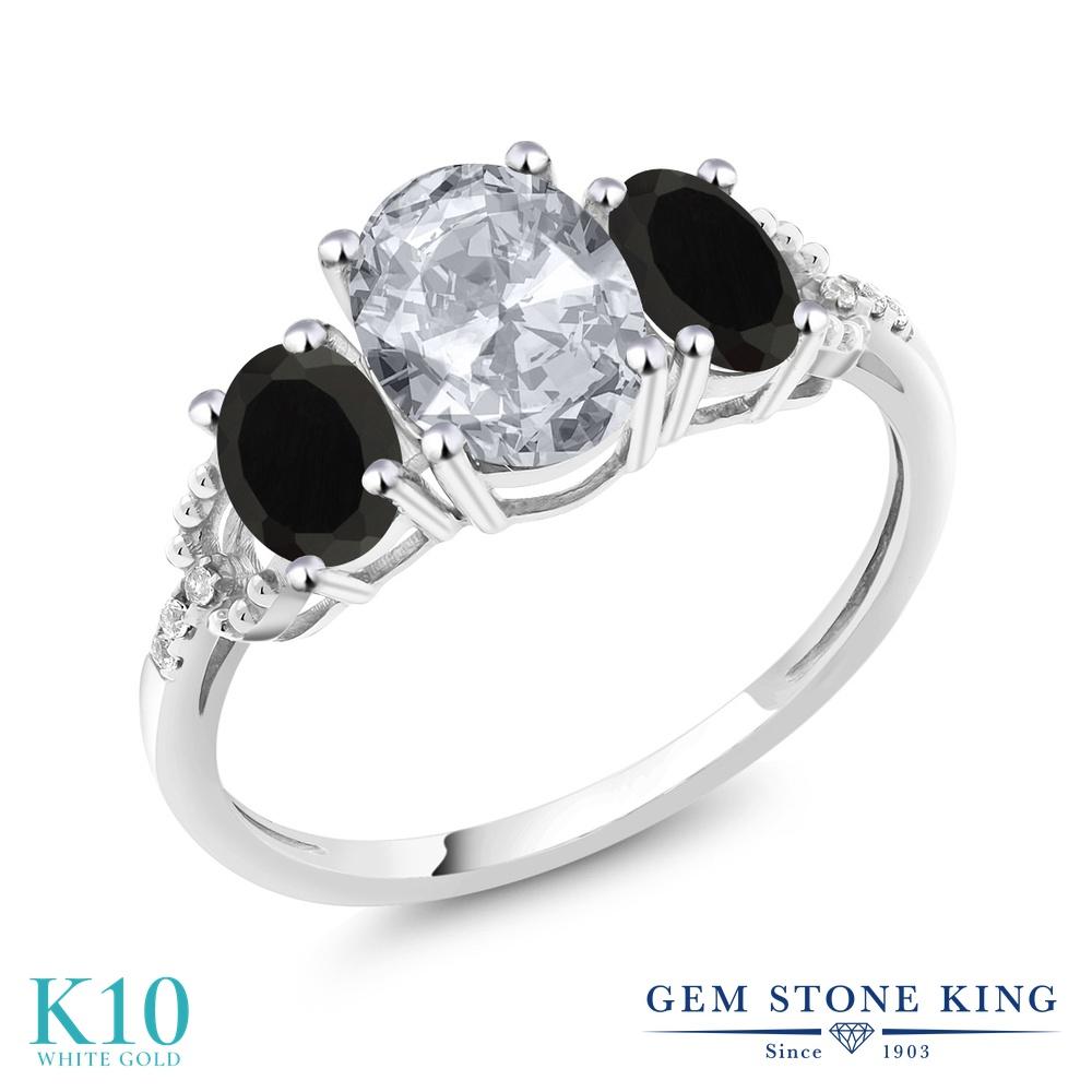 Gem Stone King 2.13カラット 天然 トパーズ (無色透明) 天然 オニキス 天然 ダイヤモンド 10金 ホワイトゴールド(K10) 指輪 リング レディース 大粒 スリーストーン 天然石 11月 誕生石 金属アレルギー対応 婚約指輪 エンゲージリング