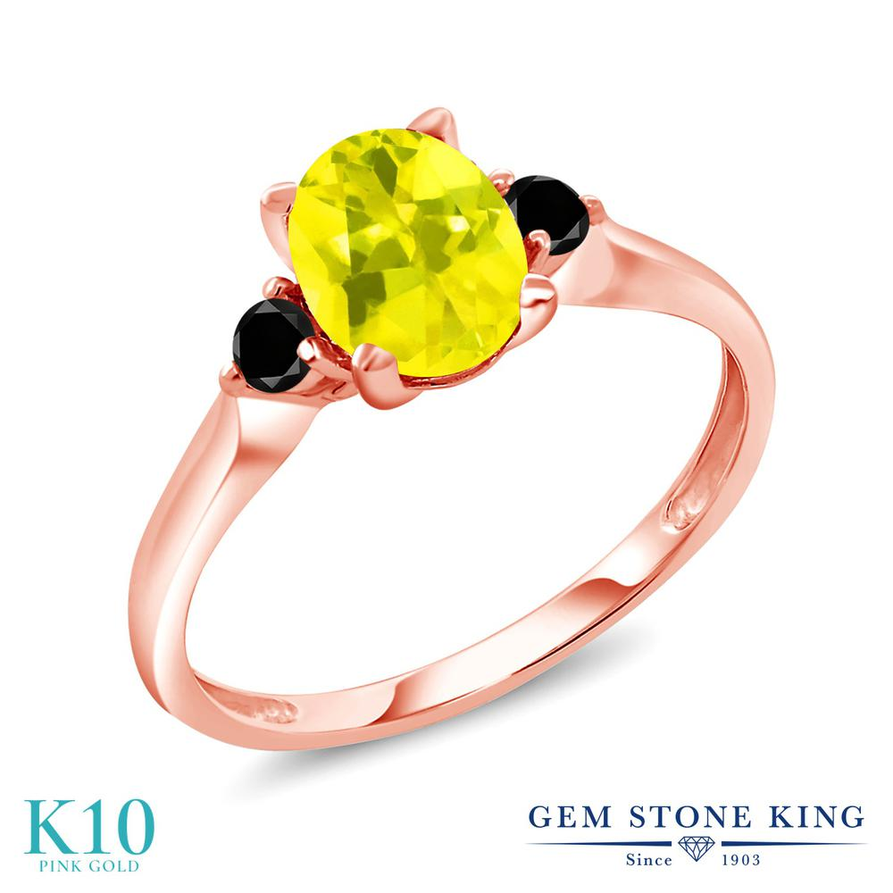 Gem Stone King 1.43カラット 天然石 ミスティックトパーズ (イエロー) 天然ブラックダイヤモンド 10金 ピンクゴールド(K10) 指輪 リング レディース 大粒 シンプル スリーストーン 天然石 金属アレルギー対応 誕生日プレゼント