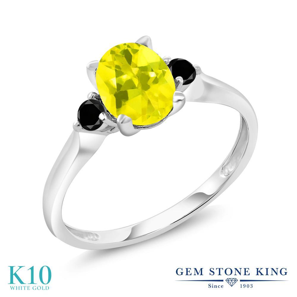 Gem Stone King 1.43カラット 天然石 ミスティックトパーズ (イエロー) 天然ブラックダイヤモンド 10金 ホワイトゴールド(K10) 指輪 リング レディース 大粒 シンプル スリーストーン 天然石 金属アレルギー対応 誕生日プレゼント
