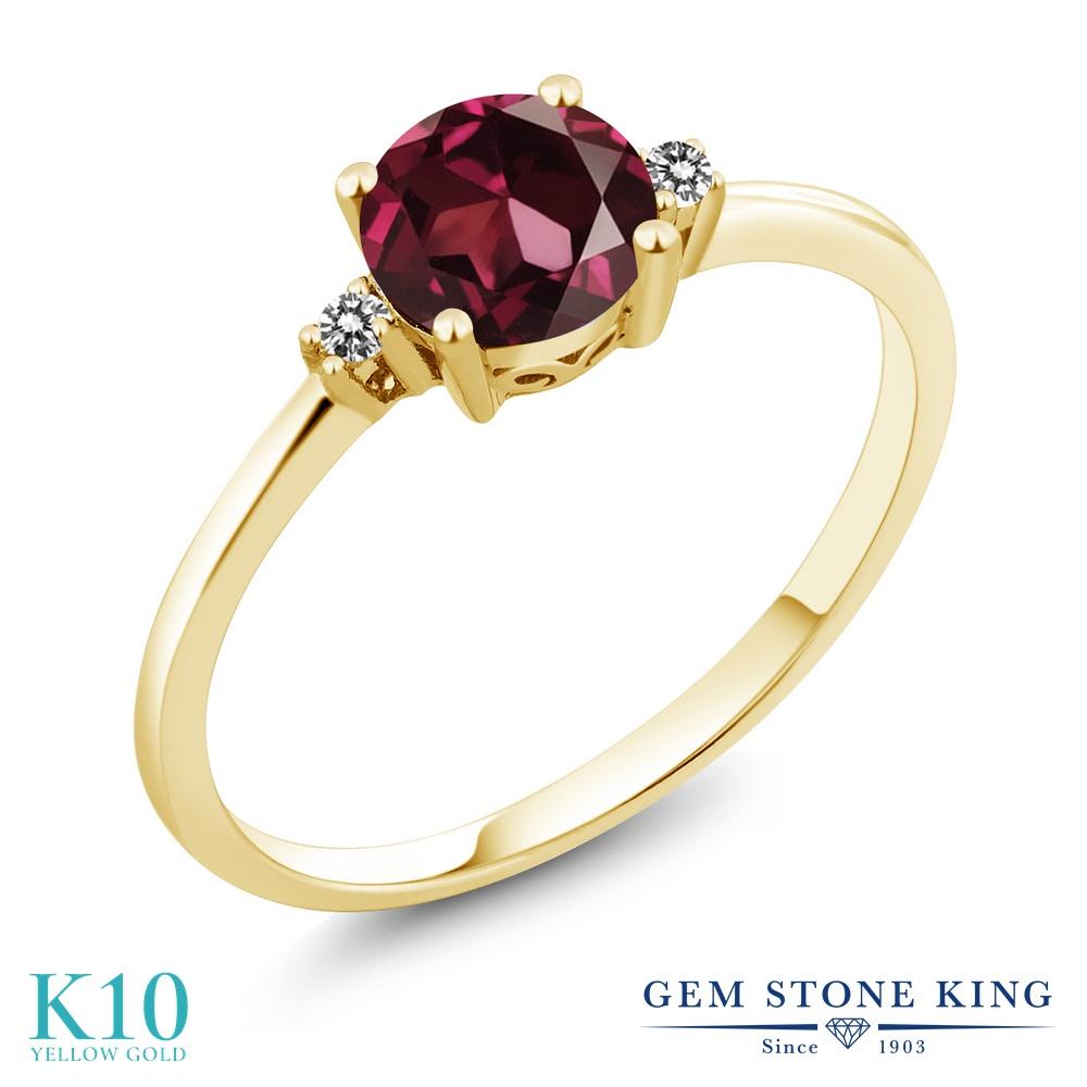 Gem Stone King 1.03カラット 天然 ロードライトガーネット 天然 ダイヤモンド 10金 イエローゴールド(K10) 指輪 リング レディース 大粒 一粒 シンプル ソリティア 天然石 金属アレルギー対応 婚約指輪 エンゲージリング