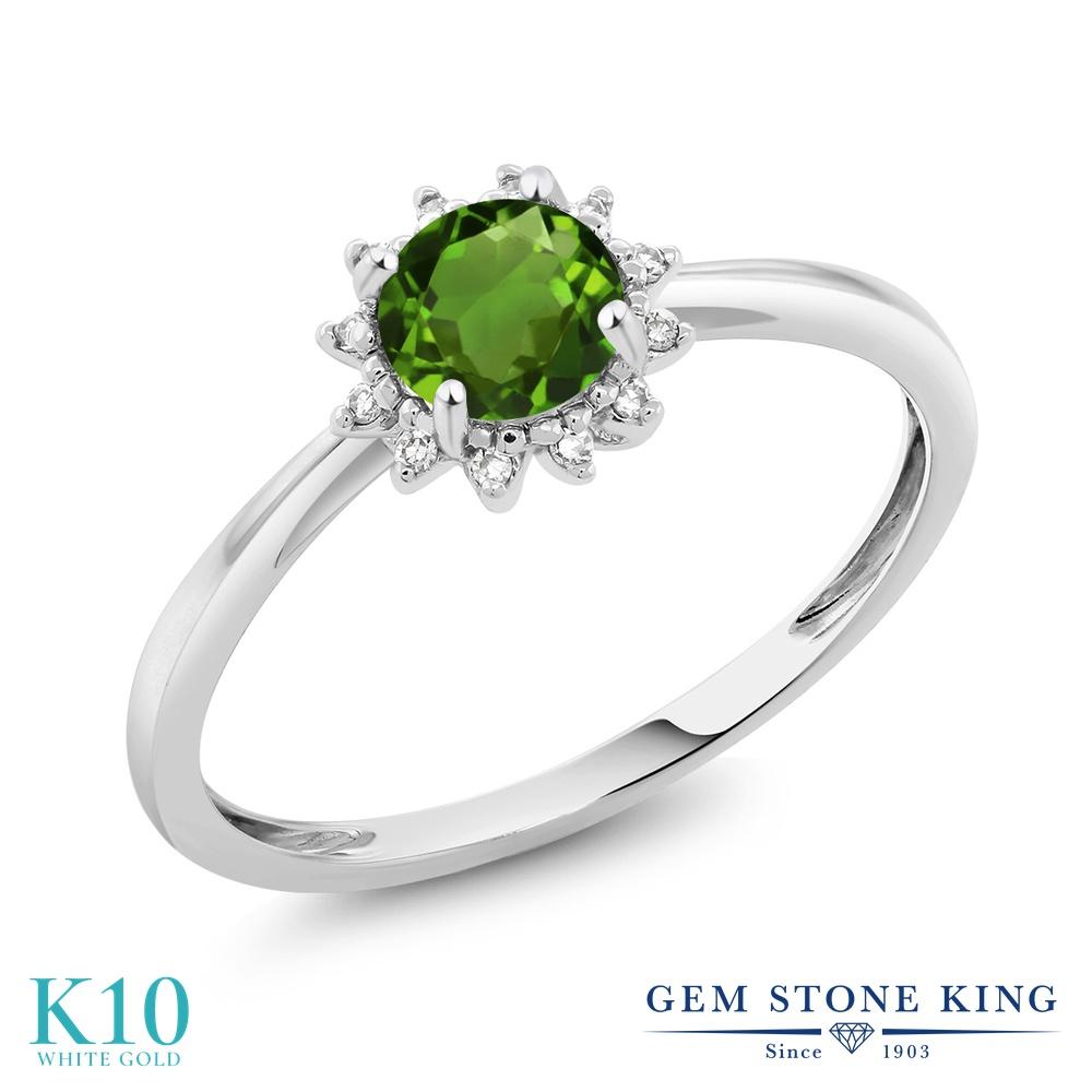 【10%OFF】 Gem Stone King 0.5カラット 天然 クロムダイオプサイド ダイヤモンド 指輪 リング レディース 10金 ホワイトゴールド K10 小粒 ヘイロー 天然石 婚約指輪 エンゲージリング