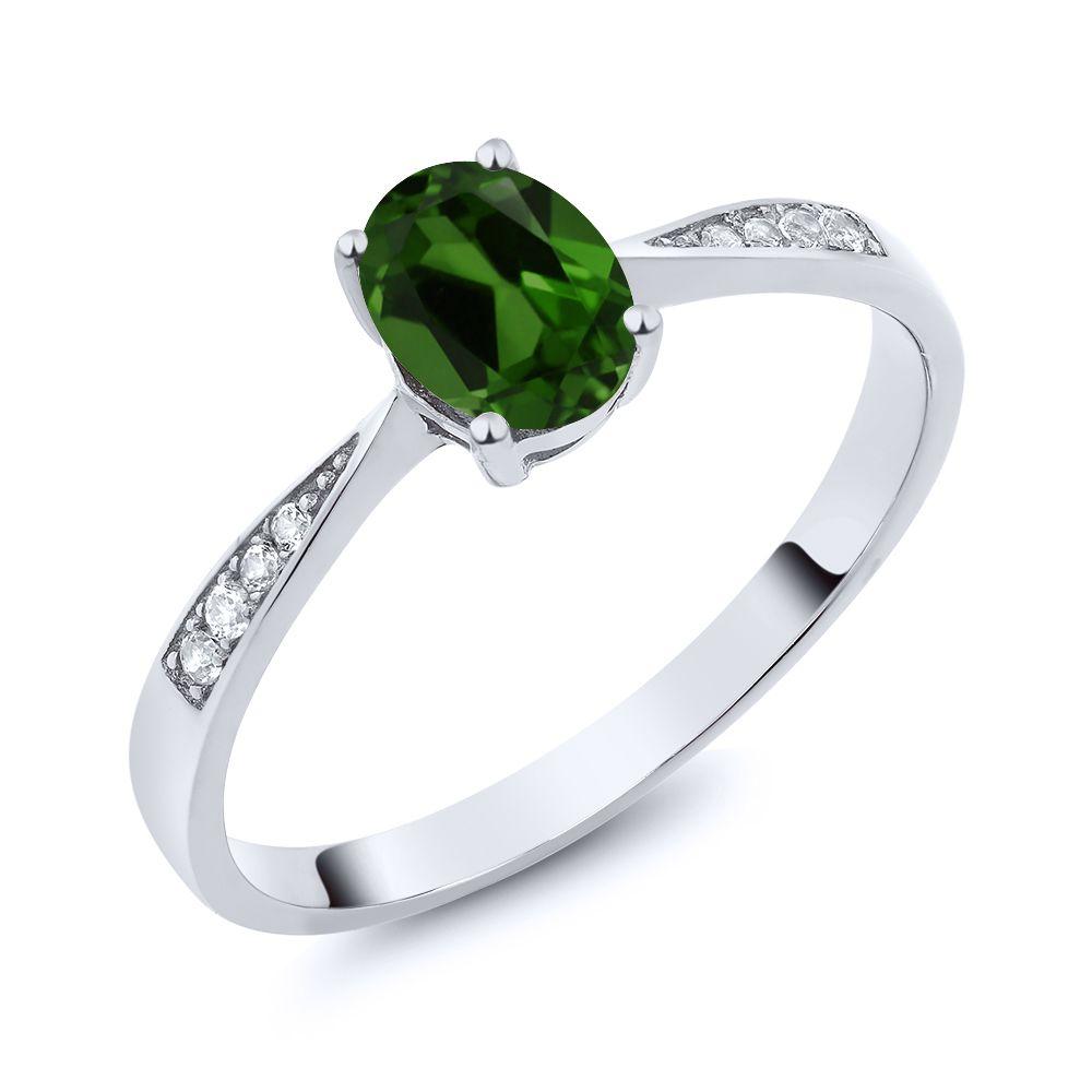 【クーポンで10%OFF】 Gem Stone King 0.86カラット 天然 クロムダイオプサイド 天然 ダイヤモンド 10金 ホワイトゴールド(K10) 指輪 リング レディース ソリティア 天然石 金属アレルギー対応 誕生日プレゼント