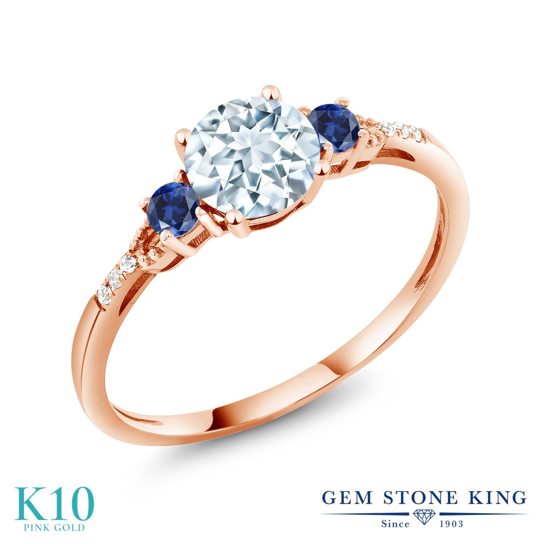 【10%OFF】 Gem Stone King 0.95カラット 天然 アクアマリン ダイヤモンド 指輪 リング レディース 10金 ピンクゴールド K10 マルチストーン 天然石 3月 誕生石 クリスマスプレゼント 女性 彼女 妻 誕生日
