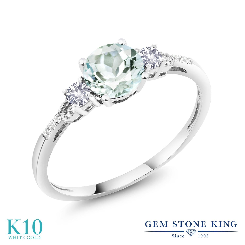 Gem Stone King 0.9カラット 天然 アクアマリン 合成ホワイトサファイア (ダイヤのような無色透明) 天然 ダイヤモンド 10金 ホワイトゴールド(K10) 指輪 リング レディース マルチストーン 天然石 3月 誕生石 金属アレルギー対応 誕生日プレゼント