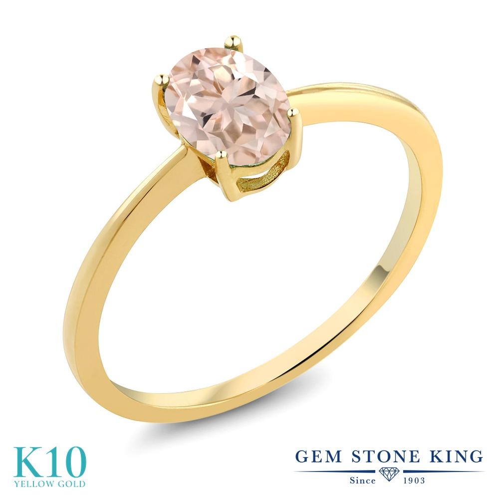【10%OFF】 Gem Stone King 0.65カラット 天然 モルガナイト (ピーチ) 指輪 リング レディース 10金 イエローゴールド K10 一粒 シンプル ソリティア 天然石 3月 誕生石 クリスマスプレゼント 女性 彼女 妻 誕生日