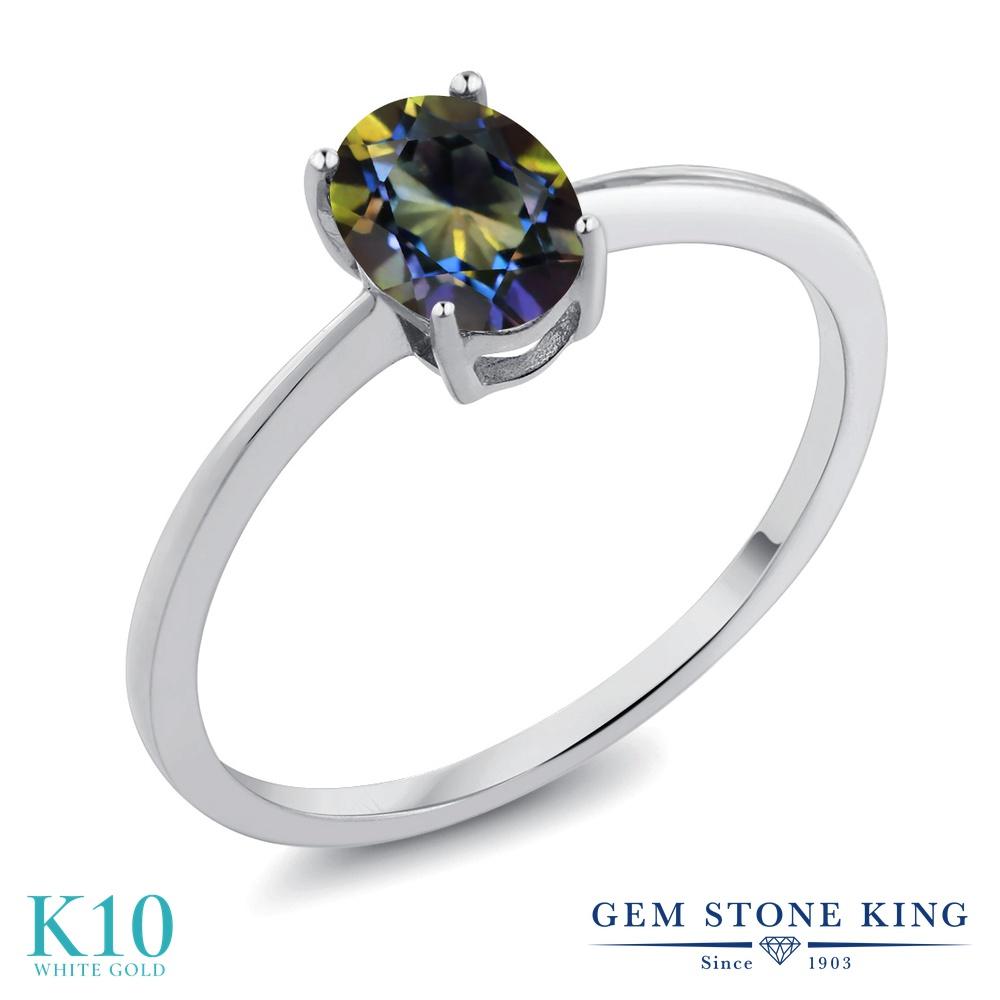 0.8カラット 天然石 ミスティックトパーズ (ブルー) 指輪 レディース リング 10金 ホワイトゴールド K10 ブランド おしゃれ 一粒 青 シンプル 細身 ソリティア プレゼント 女性 彼女 妻 誕生日