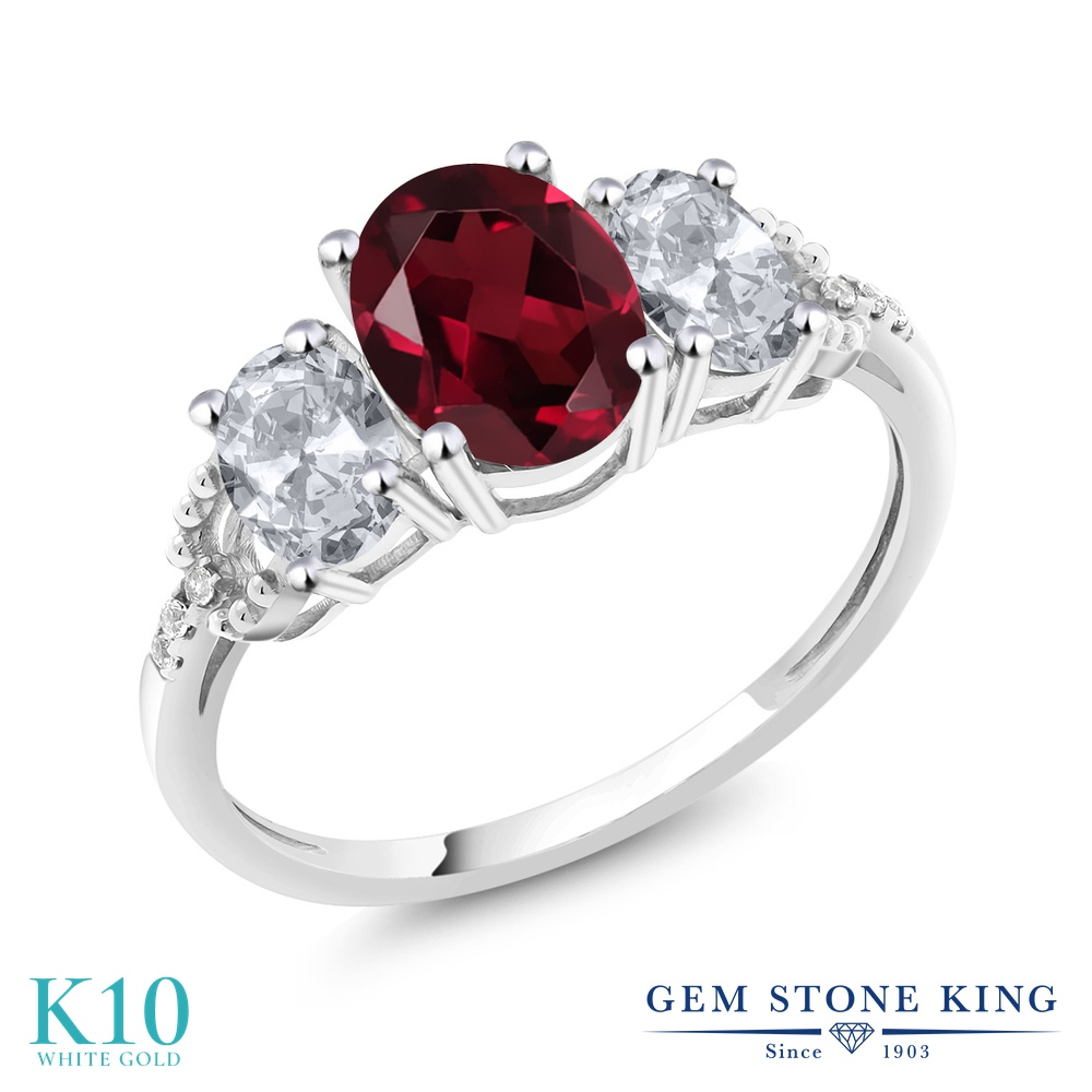 【10%OFF】 Gem Stone King 2.4カラット 天然 ロードライトガーネット トパーズ ダイヤモンド 指輪 リング レディース 10金 ホワイトゴールド K10 大粒 スリーストーン 天然石 婚約指輪 エンゲージリング