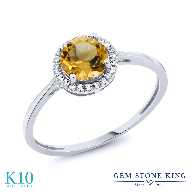 Gem Stone King 1.02カラット 天然 シトリン 天然 ダイヤモンド 10金 ホワイトゴールド(K10) 指輪 リング レディース ヘイロー 天然石 11月 誕生石 金属アレルギー対応 誕生日プレゼント
