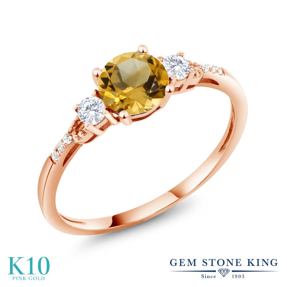 Gem Stone King 0.84カラット 天然 シトリン 合成ホワイトサファイア (ダイヤのような無色透明) 天然 ダイヤモンド 10金 ピンクゴールド(K10) 指輪 リング レディース マルチストーン 天然石 11月 誕生石 金属アレルギー対応 誕生日プレゼント