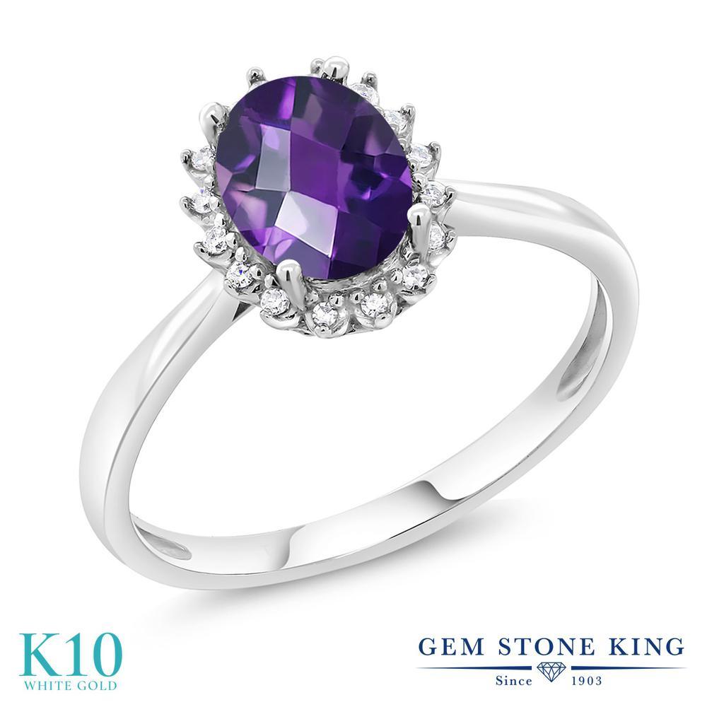 Gem Stone King 1.2カラット 天然 アメジスト 天然 ダイヤモンド 10金 ホワイトゴールド(K10) 指輪 リング レディース 大粒 ヘイロー 天然石 2月 誕生石 金属アレルギー対応 誕生日プレゼント