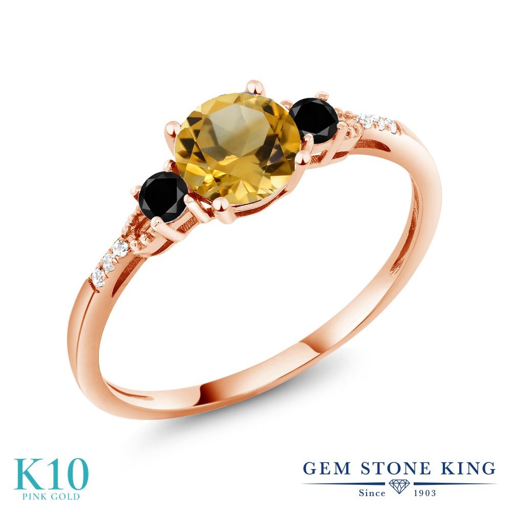 【10%OFF】 Gem Stone King 0.87カラット 天然 シトリン ブラックダイヤモンド 指輪 リング レディース 10金 ピンクゴールド K10 マルチストーン 天然石 11月 誕生石 クリスマスプレゼント 女性 彼女 妻 誕生日