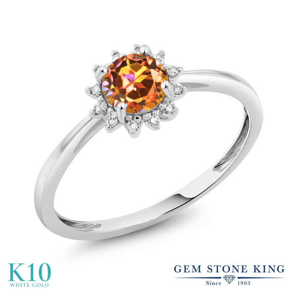 Gem Stone King 0.55カラット 天然石 エクスタシーミスティックトパーズ 天然 ダイヤモンド 10金 ホワイトゴールド(K10) 指輪 リング レディース ヘイロー 天然石 金属アレルギー対応 婚約指輪 エンゲージリング