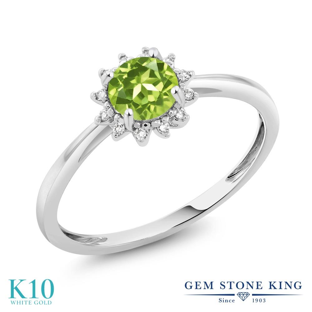 Gem Stone King 0.5カラット 天然石 ペリドット 天然 ダイヤモンド 10金 ホワイトゴールド(K10) 指輪 リング レディース 小粒 ヘイロー 天然石 8月 誕生石 金属アレルギー対応 婚約指輪 エンゲージリング