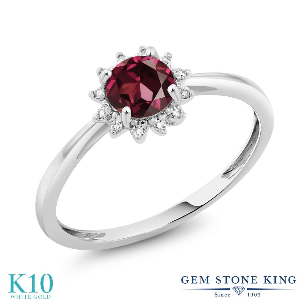 【10%OFF】 Gem Stone King 0.6カラット 天然 ロードライトガーネット ダイヤモンド 指輪 リング レディース 10金 ホワイトゴールド K10 ヘイロー 天然石 婚約指輪 エンゲージリング