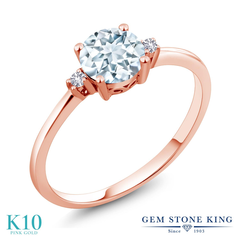 【10%OFF】 Gem Stone King 0.78カラット 天然 アクアマリン 合成ホワイトサファイア (ダイヤのような無色透明) 指輪 リング レディース 10金 ピンクゴールド K10 シンプル ソリティア 天然石 3月 誕生石 クリスマスプレゼント 女性 彼女 妻 誕生日
