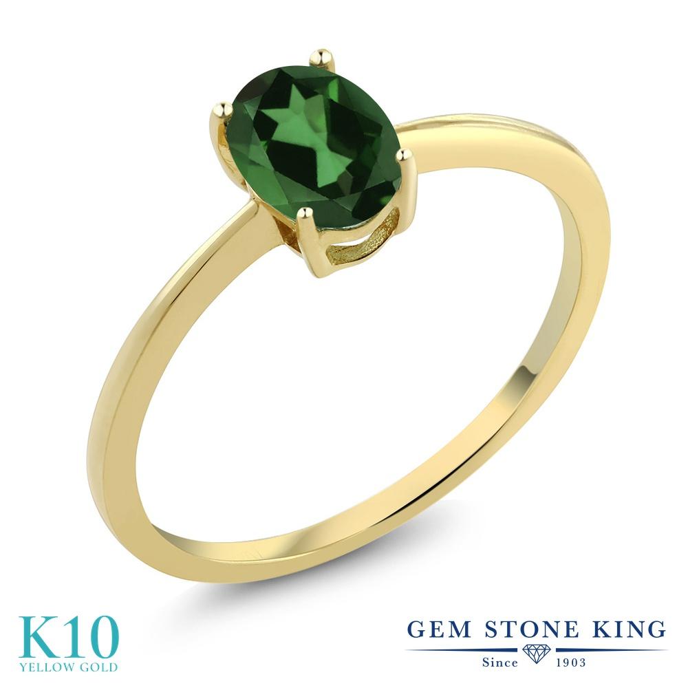 0.8カラット 天然石 ミスティックトパーズ (エメラルドグリーン) 指輪 レディース リング 10金 イエローゴールド K10 ブランド おしゃれ 一粒 シンプル 細身 ソリティア 婚約指輪 エンゲージリング