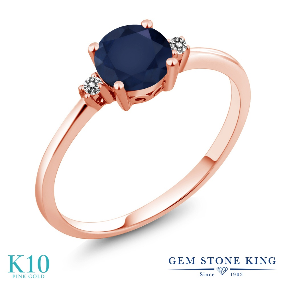 Gem Stone King 1.03カラット 天然 サファイア 天然 ダイヤモンド 10金 ピンクゴールド(K10) 指輪 リング レディース 大粒 一粒 シンプル ソリティア 天然石 9月 誕生石 金属アレルギー対応 婚約指輪 エンゲージリング