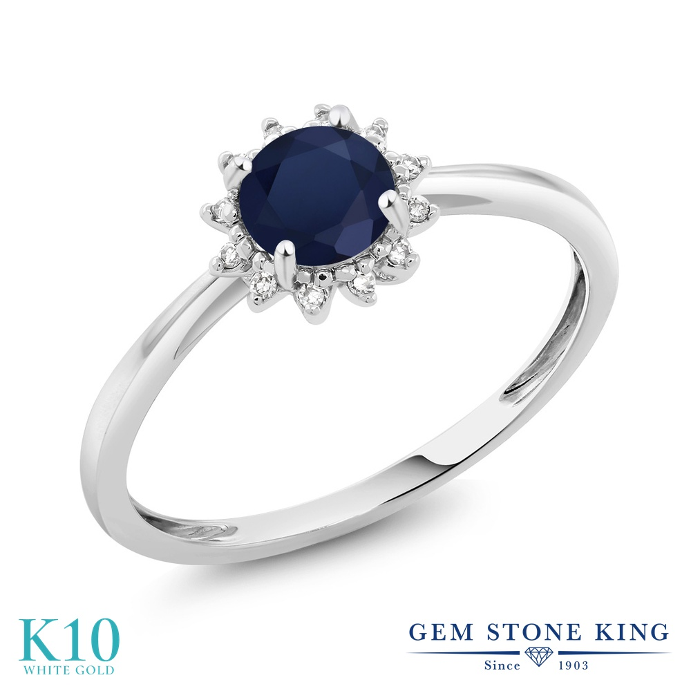 【10%OFF】 Gem Stone King 0.6カラット 天然 サファイア ダイヤモンド 指輪 リング レディース 10金 ホワイトゴールド K10 ヘイロー 天然石 9月 誕生石 婚約指輪 エンゲージリング