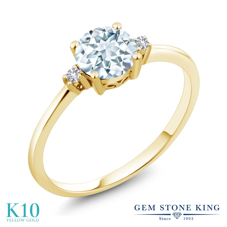 【10%OFF】 Gem Stone King 0.78カラット 天然 アクアマリン 合成ホワイトサファイア (ダイヤのような無色透明) 指輪 リング レディース 10金 イエローゴールド K10 シンプル ソリティア 天然石 3月 誕生石 クリスマスプレゼント 女性 彼女 妻 誕生日