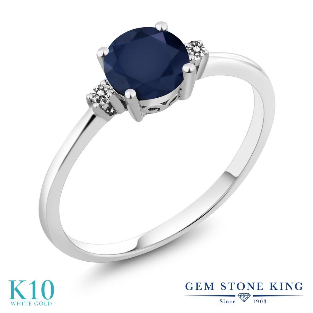 【10%OFF】 Gem Stone King 1.03カラット 天然 サファイア ダイヤモンド 指輪 リング レディース 10金 ホワイトゴールド K10 大粒 一粒 シンプル ソリティア 天然石 9月 誕生石 婚約指輪 エンゲージリング