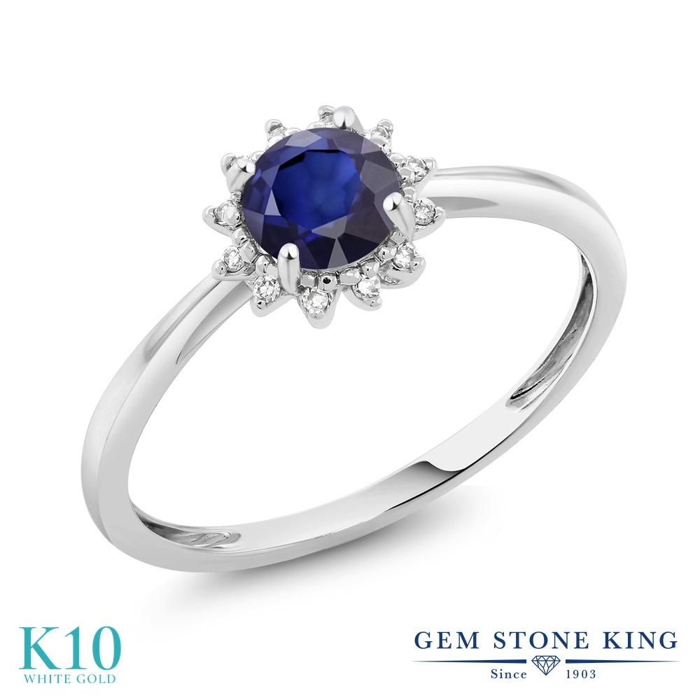 Gem Stone King 0.5カラット 天然 サファイア 天然 ダイヤモンド 10金 ホワイトゴールド(K10) 指輪 リング レディース 小粒 ヘイロー 天然石 9月 誕生石 金属アレルギー対応 婚約指輪 エンゲージリング