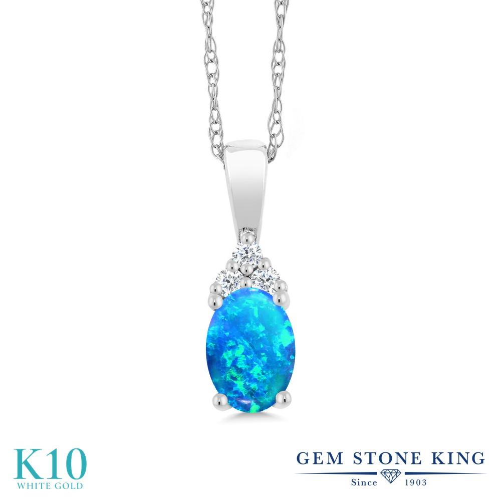 Gem Stone King 0.5カラット シミュレイテッド ブルーオパール 天然 ダイヤモンド 10金 ホワイトゴールド(K10) ネックレス ペンダント レディース 小粒 10月 誕生石 金属アレルギー対応 誕生日プレゼント
