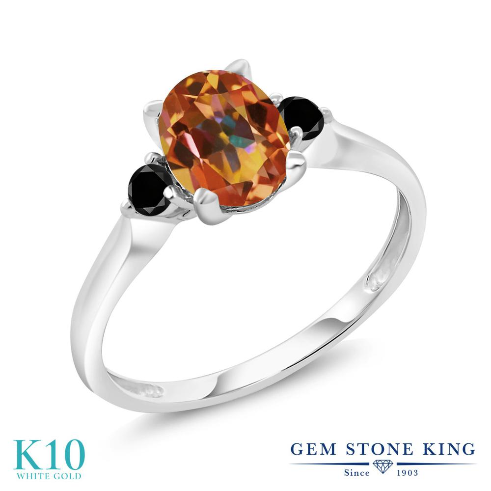 Gem Stone King 1.63カラット 天然石 エクスタシーミスティックトパーズ 天然ブラックダイヤモンド 10金 ホワイトゴールド(K10) 指輪 リング レディース 大粒 シンプル スリーストーン 天然石 金属アレルギー対応 誕生日プレゼント