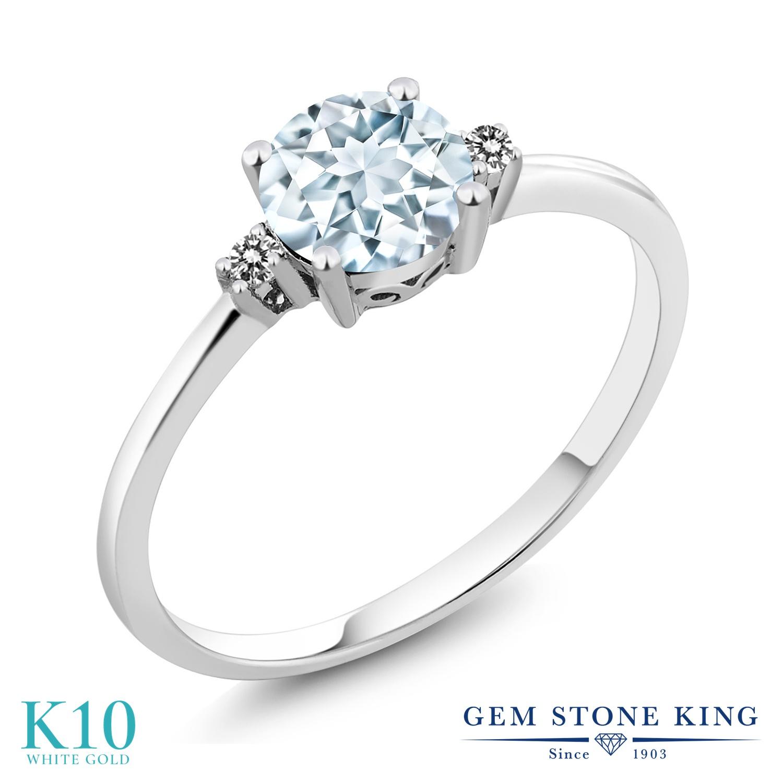 Gem Stone King 0.78カラット 天然 アクアマリン 天然 ダイヤモンド 10金 ホワイトゴールド(K10) 指輪 リング レディース 一粒 シンプル ソリティア 天然石 3月 誕生石 金属アレルギー対応 婚約指輪 エンゲージリング