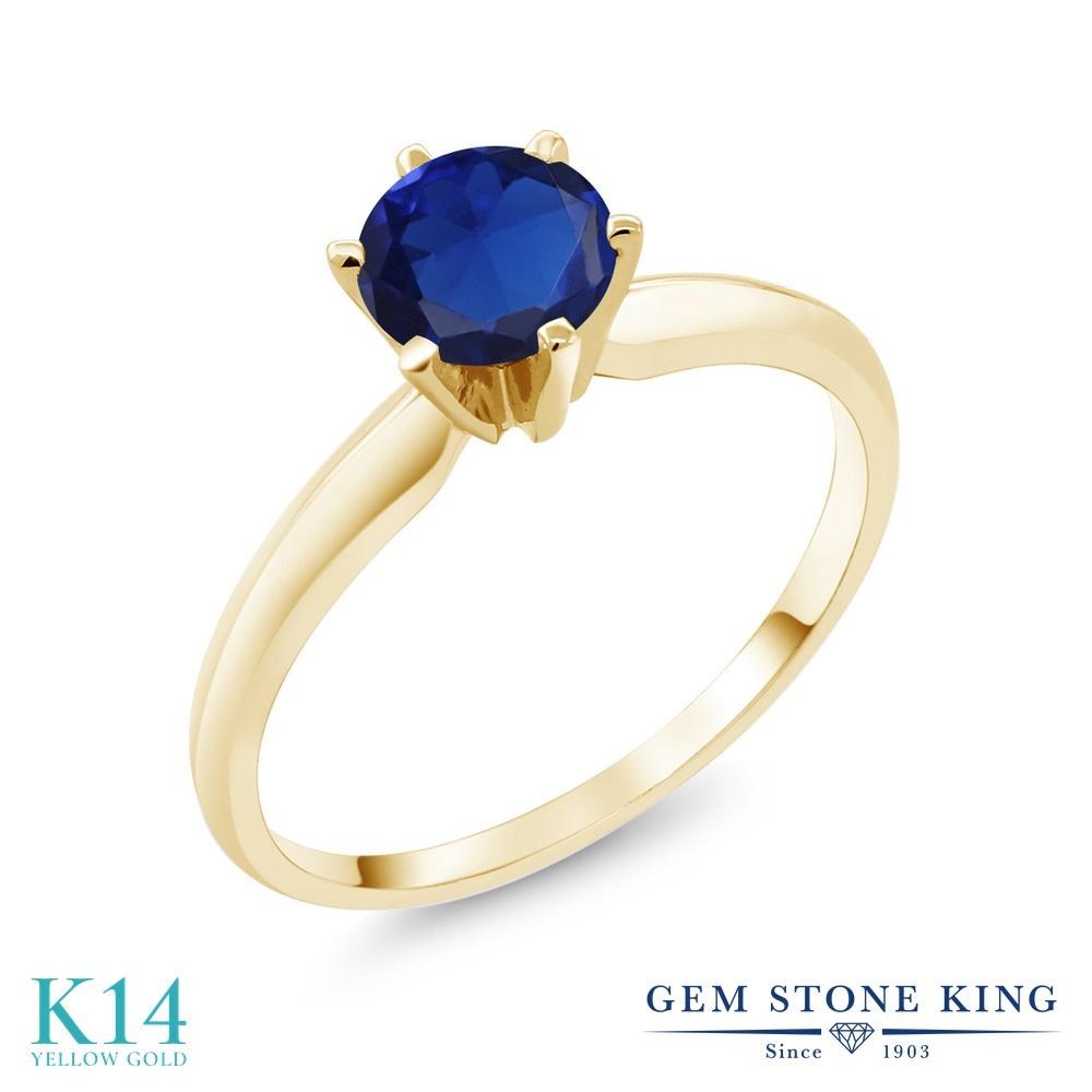 Gem Stone King 0.75カラット シミュレイテッド サファイア 14金 イエローゴールド(K14) 指輪 リング レディース 一粒 シンプル ソリティア 金属アレルギー対応 婚約指輪 エンゲージリング