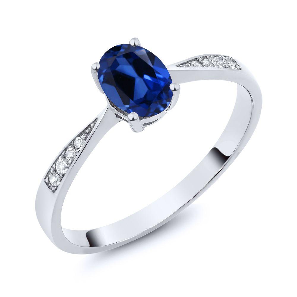 【クーポンで10%OFF】 Gem Stone King 0.96カラット シミュレイテッド サファイア 天然 ダイヤモンド 10金 ホワイトゴールド(K10) 指輪 リング レディース ソリティア 金属アレルギー対応 誕生日プレゼント