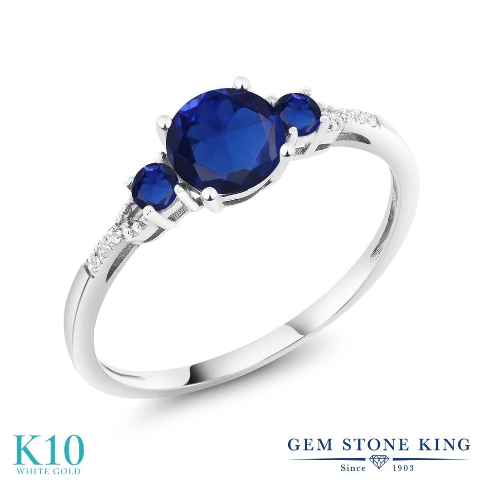 Gem Stone King 0.96カラット シミュレイテッド サファイア 天然 ダイヤモンド 10金 ホワイトゴールド(K10) 指輪 リング レディース マルチストーン 金属アレルギー対応 誕生日プレゼント