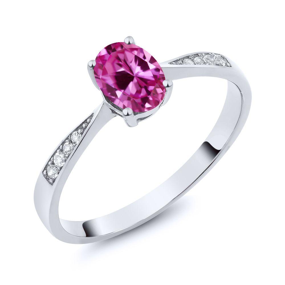 【クーポンで10%OFF】 Gem Stone King 0.96カラット 合成ピンクサファイア 天然 ダイヤモンド 10金 ホワイトゴールド(K10) 指輪 リング レディース ソリティア 金属アレルギー対応 誕生日プレゼント