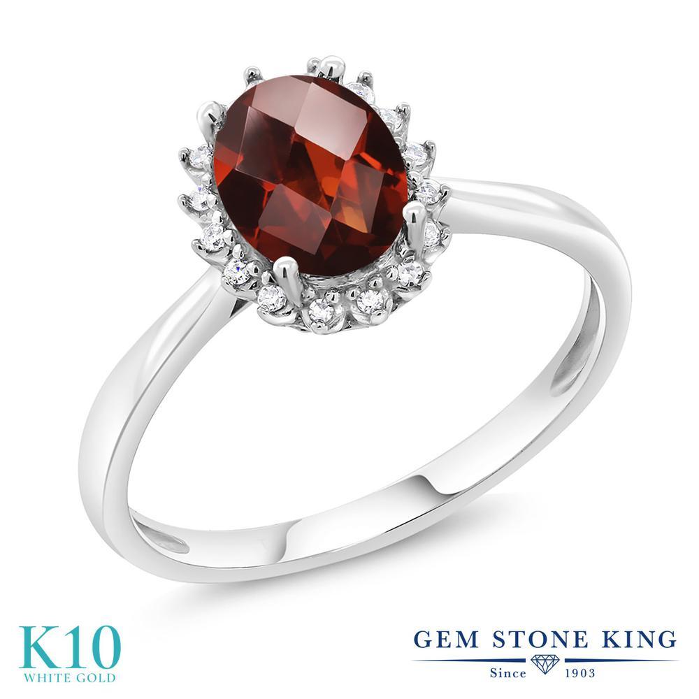 Gem Stone King 1.53カラット 天然 ガーネット 天然 ダイヤモンド 10金 ホワイトゴールド(K10) 指輪 リング レディース 大粒 ヘイロー 天然石 1月 誕生石 金属アレルギー対応 誕生日プレゼント