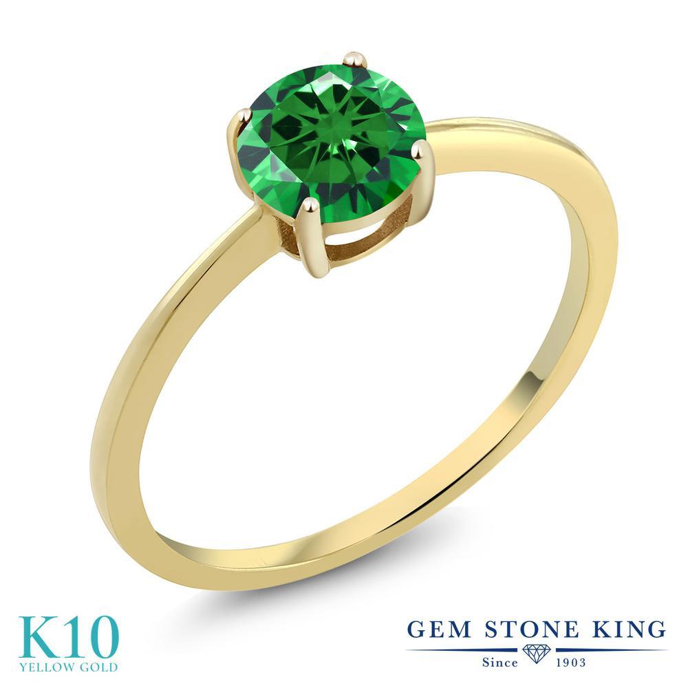 ジルコニア (グリーン) 指輪 レディース リング 10金 イエローゴールド K10 ブランド おしゃれ 一粒 CZ 緑 大粒 シンプル 細身 ソリティア 金属アレルギー対応