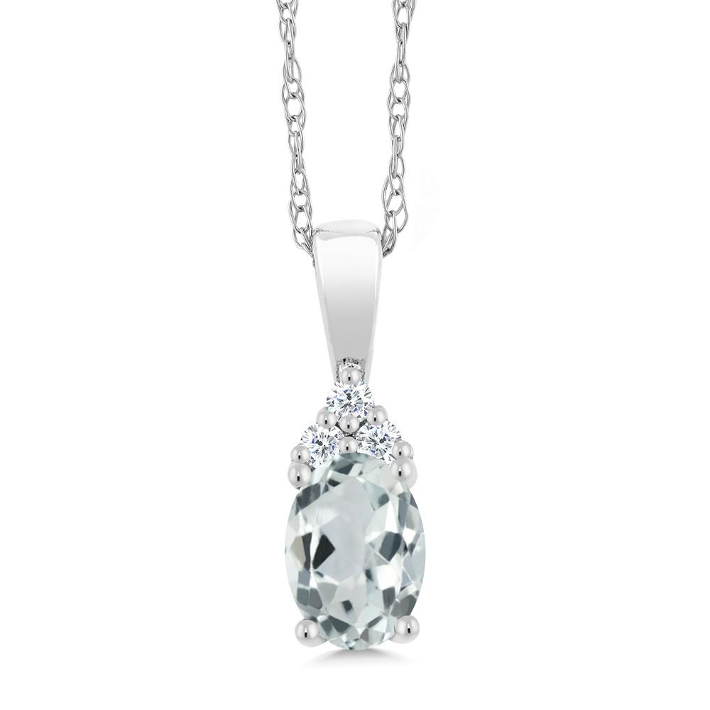 Gem Stone King 0.43カラット 天然 アクアマリン 天然 ダイヤモンド 10金 ホワイトゴールド(K10) ネックレス ペンダント レディース 小粒 天然石 3月 誕生石 金属アレルギー対応 誕生日プレゼント