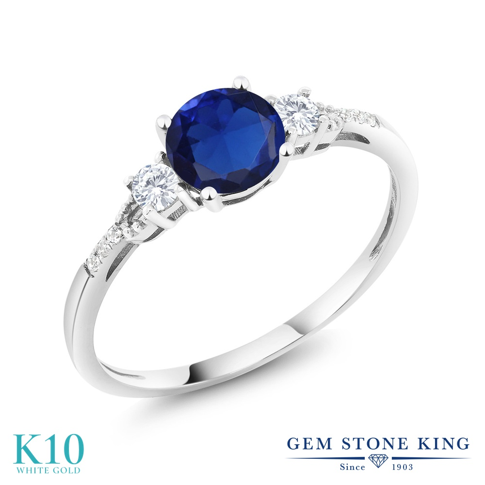 Gem Stone King 0.9カラット シミュレイテッド サファイア 合成ホワイトサファイア (ダイヤのような無色透明) 天然 ダイヤモンド 10金 ホワイトゴールド(K10) 指輪 リング レディース マルチストーン 金属アレルギー対応 誕生日プレゼント