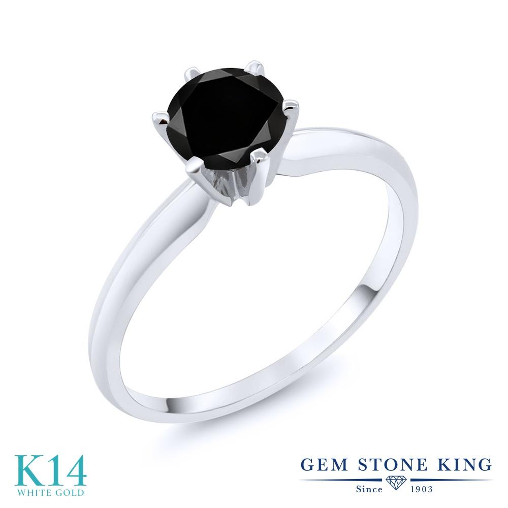 Gem Stone King 1.05カラット 天然ブラックダイヤモンド 14金 ホワイトゴールド(K14) 指輪 リング レディース ブラック ダイヤ 大粒 一粒 シンプル ソリティア 天然石 4月 誕生石 金属アレルギー対応 婚約指輪 エンゲージリング