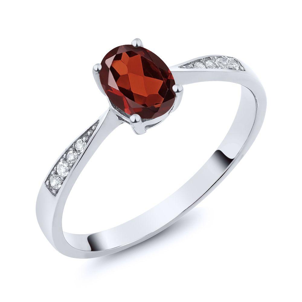 【クーポンで10%OFF】 Gem Stone King 0.96カラット 天然 ガーネット 天然 ダイヤモンド 10金 ホワイトゴールド(K10) 指輪 リング レディース ソリティア 天然石 1月 誕生石 金属アレルギー対応 誕生日プレゼント
