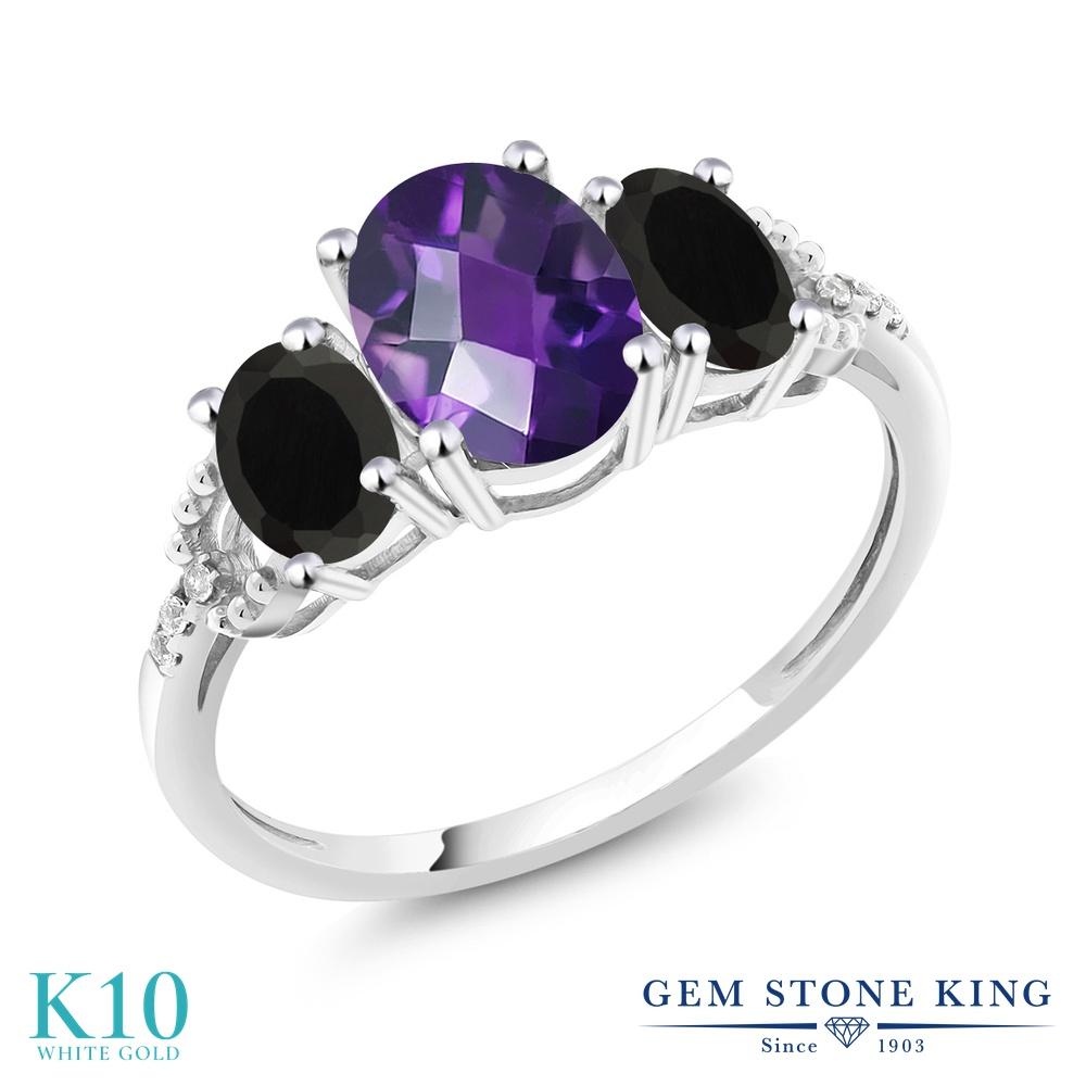 Gem Stone King 1.83カラット 天然 アメジスト 天然 オニキス 天然 ダイヤモンド 10金 ホワイトゴールド(K10) 指輪 リング レディース 大粒 スリーストーン 天然石 2月 誕生石 金属アレルギー対応 婚約指輪 エンゲージリング