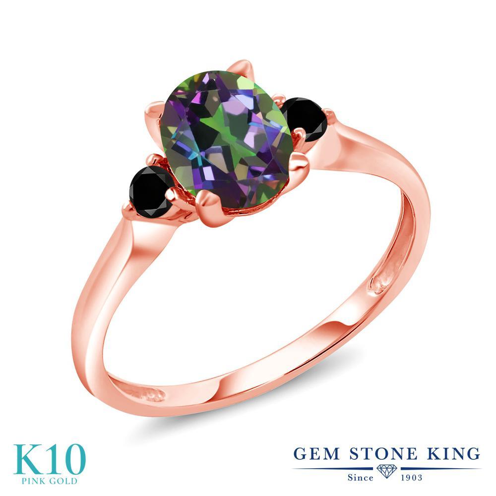 Gem Stone King 1.71カラット 天然石 ミスティックトパーズ (グリーン) 天然ブラックダイヤモンド 10金 ピンクゴールド(K10) 指輪 リング レディース 大粒 シンプル スリーストーン 天然石 金属アレルギー対応 誕生日プレゼント